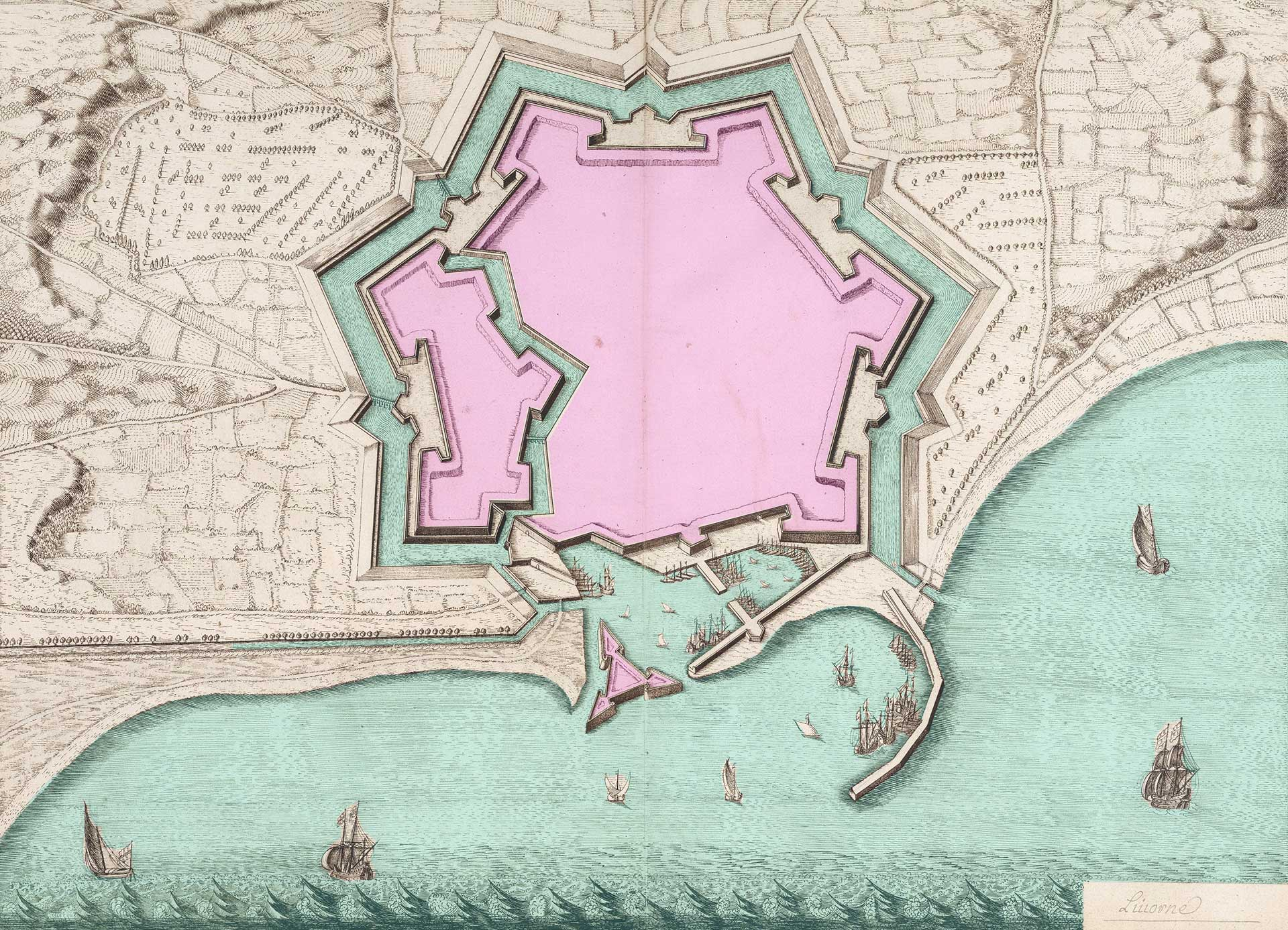 Elaborazione grafica di una mappa di Livorno, tratta da una raccolta del 1650 (David Rumsey Map Collection)