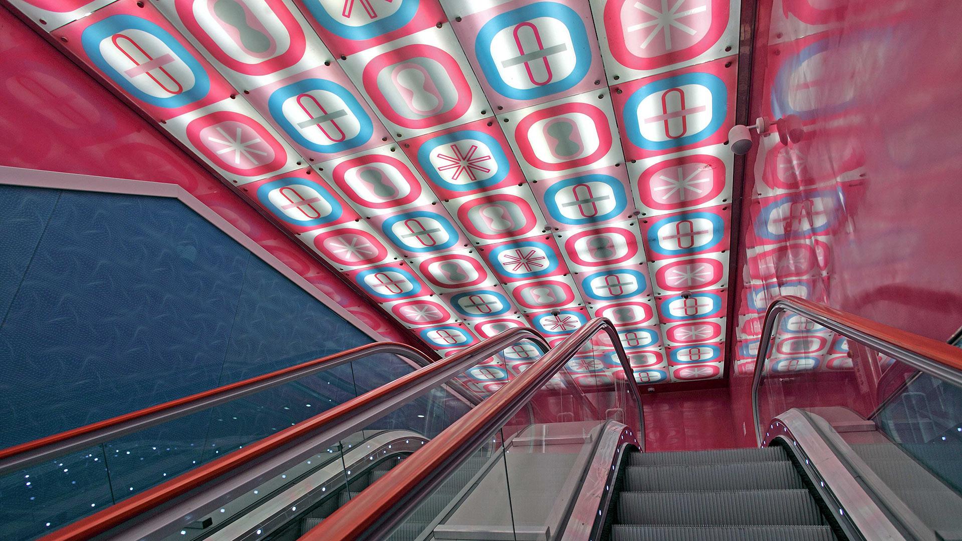 Naples Underground, University station; Karim Rashid, light box, 2010