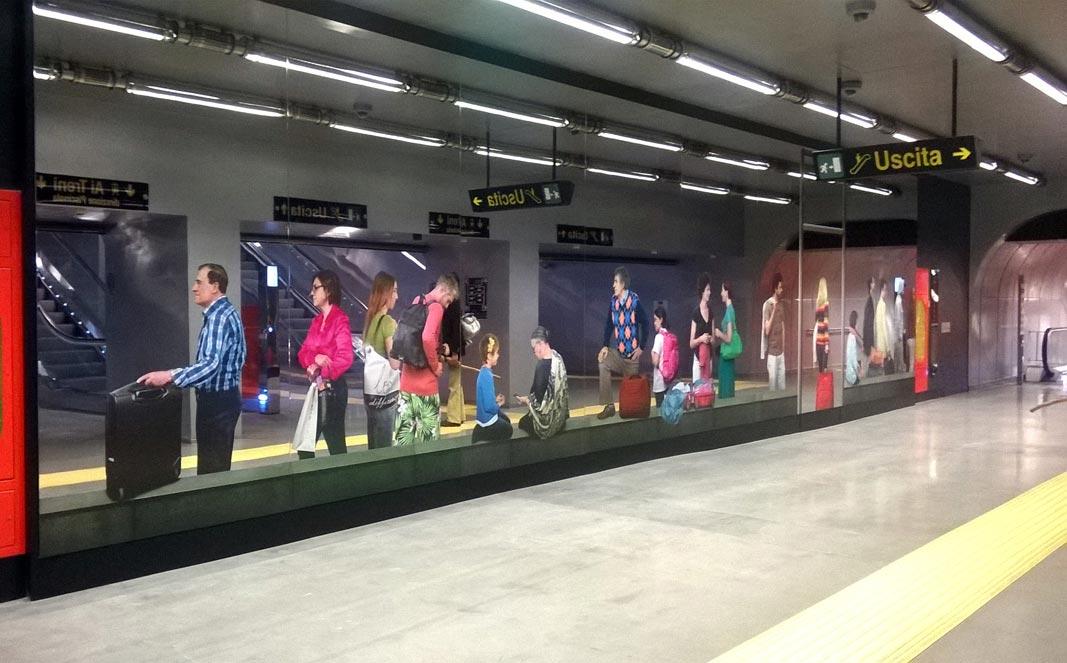 Naples Underground, Garibaldi station, Michelangelo Pistoletto, Station 1, 2013, screen print on supermirror stainless steel