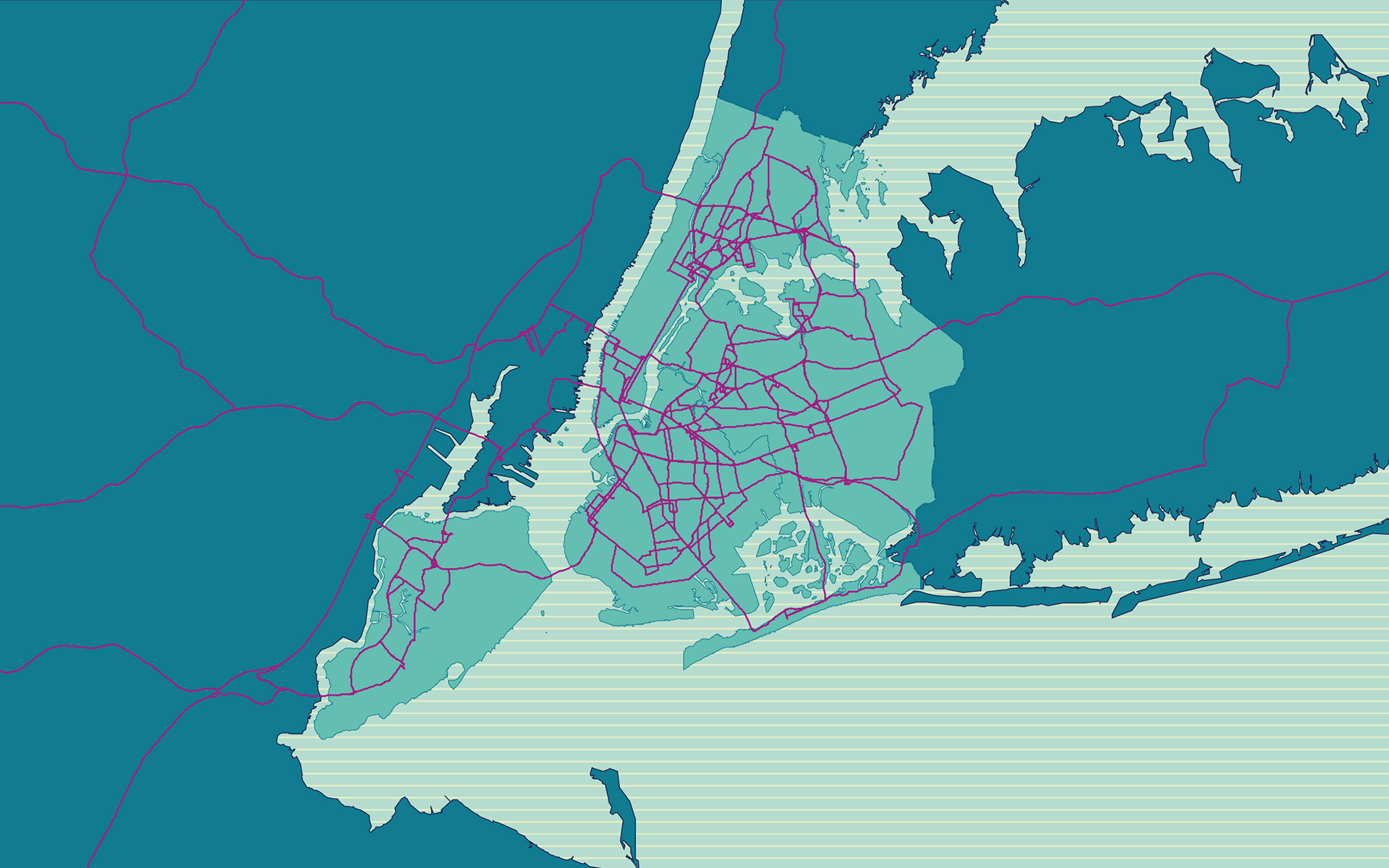 "Map of food distribution itineraries in New York. Picture taken from the ""Five Borough Food Flow"" study."