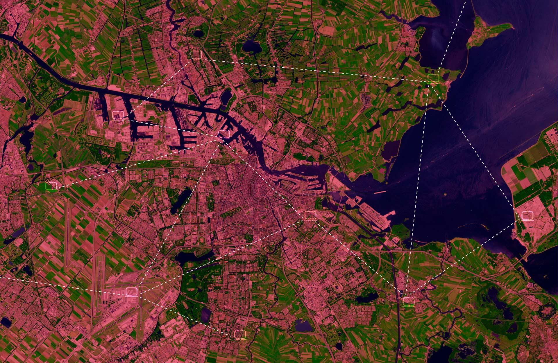 Satellite view of Amsterdam
