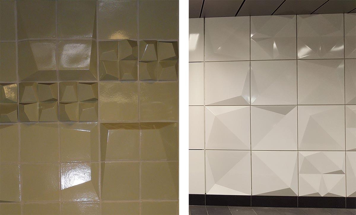 """Esempi di progettazione delle texture per le superfici nella stazione metropolitana di """"Heinrich-Heine-Allee"""""""