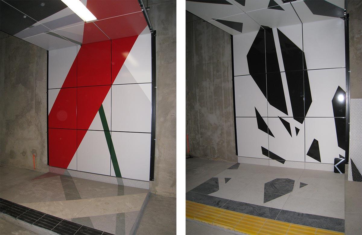 """Esempi di sviluppo dei layout artistici nella stazione metropolitanta """"Pempelforter Straße"""""""