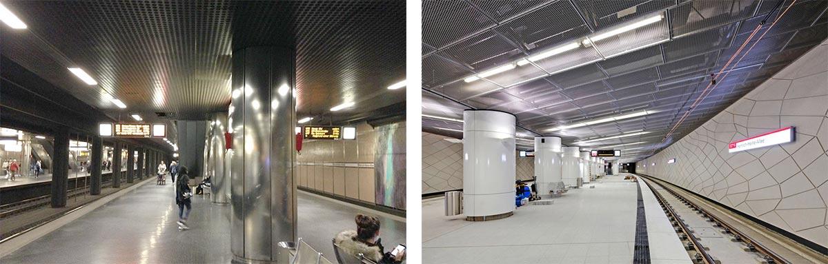 """Confronto tra le condizioni di luminosità nella stazione metropolitana di """"Heinrich-Heine-Allee"""""""