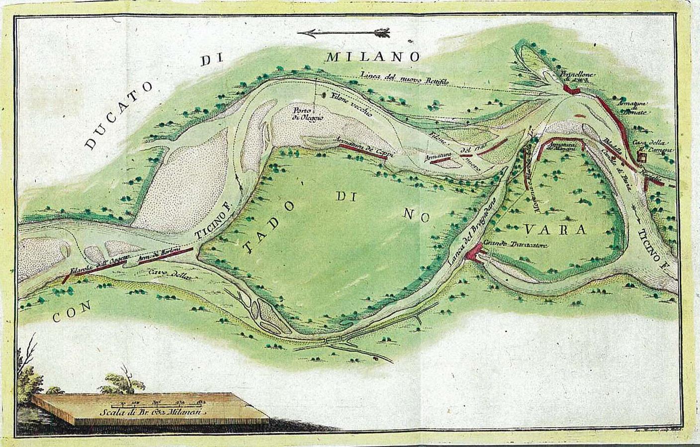 Ticino all'incile del Naviglio Grande con opere esistenti e in progetto - anno 1757
