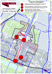 Main restrictions for planning the public transport network on the days the circuit area was closed