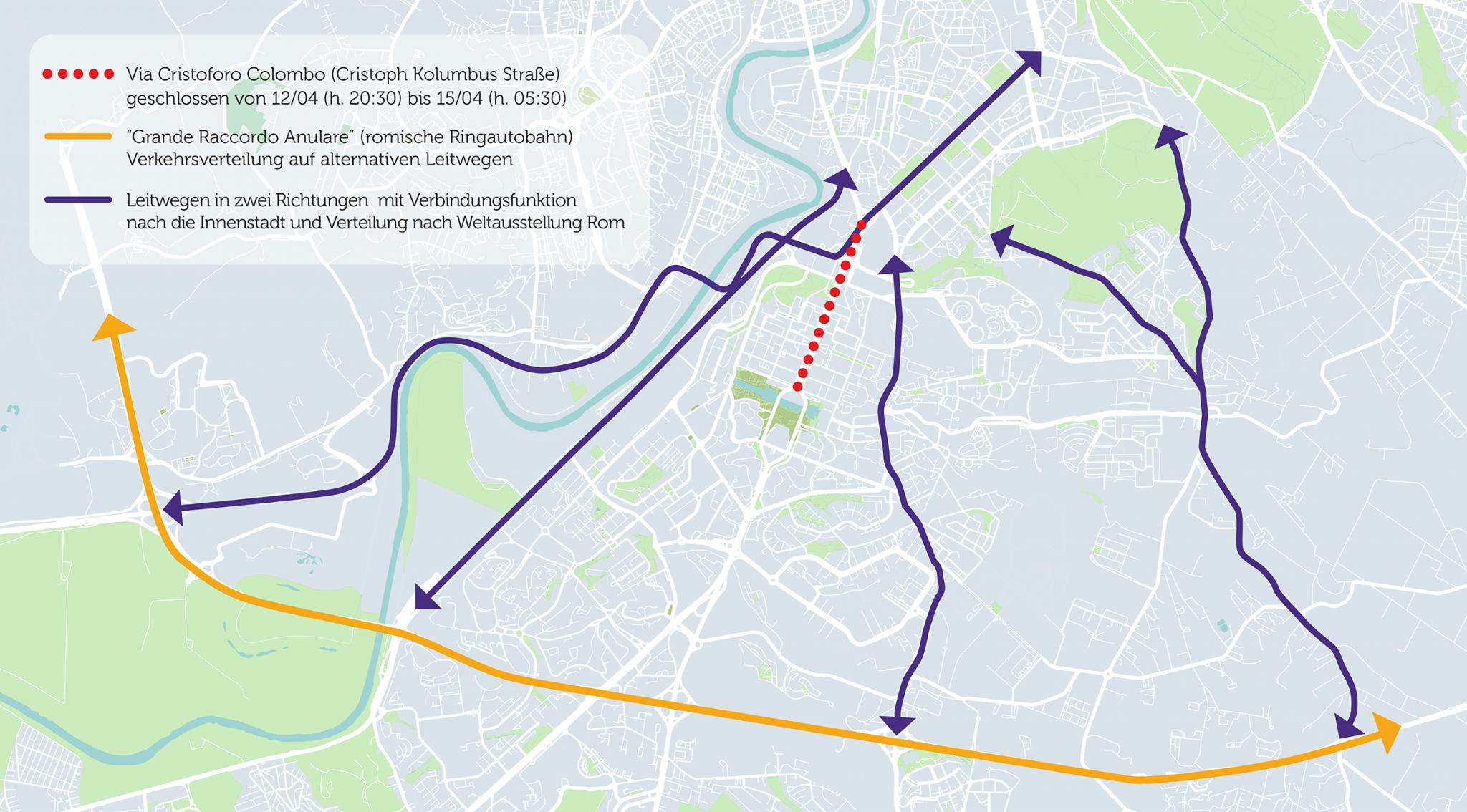 Absperrung der Via Cristoforo Colombo für den Verkehr und alternative Straßenverläufe