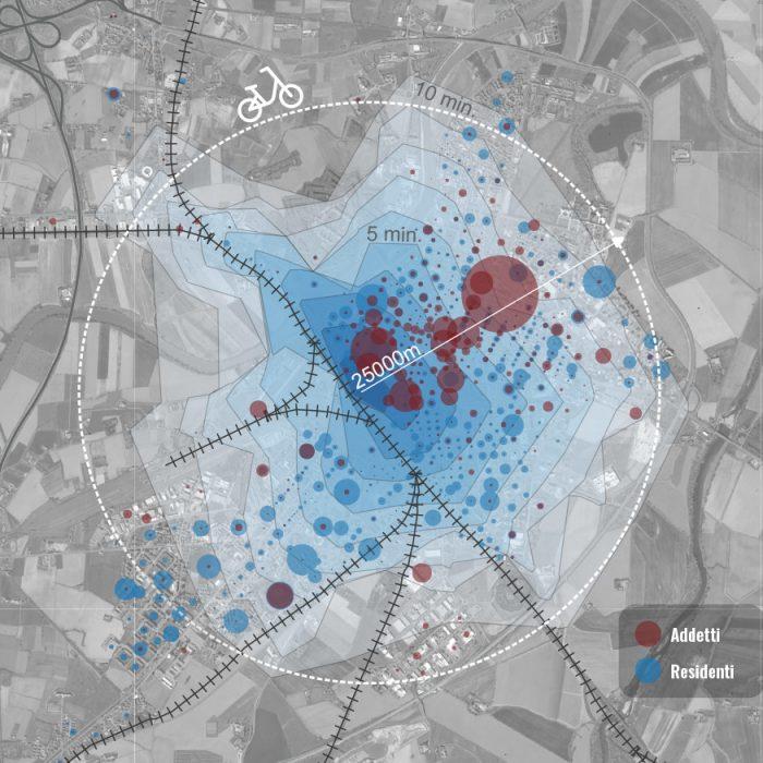Isocrone in Bicicletta rispetto alla stazione e popolazione intercettata (residenti e addetti)